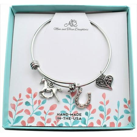 Little Girls Horse Bangle Bracelet in stainless steel. Little girls jewelry. Little girls bracelet. Horse gifts. Horseshoe.](Little Girls Bracelets)