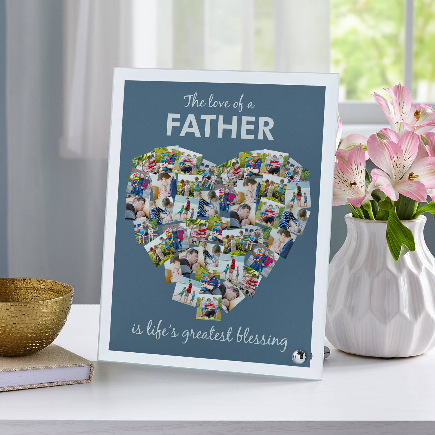 "Personalized From The Heart Glass Photo Frame 7""W x 9""H, Available in Blue or Gray"