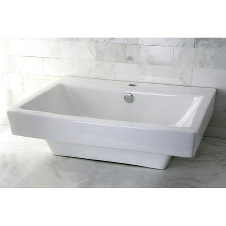 Kingston Brass Plaza Ceramic Rectangular Vessel Bathroom Sink with Overflow](Kingston Plaza)