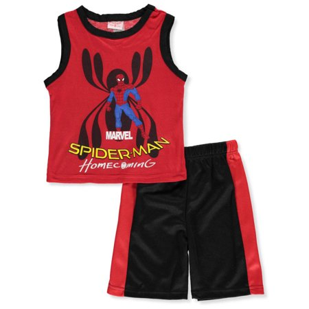 Spider-Man Boys' 2-Piece Shorts Set Outfit (Spiderman Dress Up Outfit)