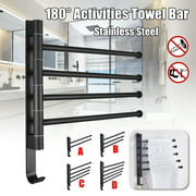 Swivel Towel Bar, Wall-Mounted Stainless Steel Swivel Bars Bathroom Towel Rack Hanger Holder Organizer Space Saving for Bathroom Kitchen,4-Arm/5-Arm