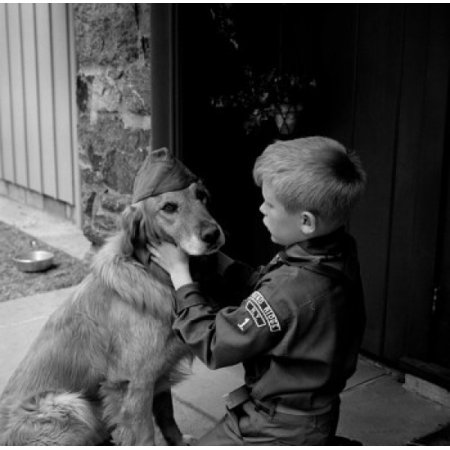 Boy scout in uniform with dog wearing scout hat Canvas Art - (18 x 24)