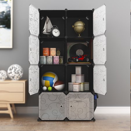 LANGRIA 8 Storage Cube Organizer Wardrobe Modular Closet Plastic Cabinet, Cubby Shelving Storage Drawer Unit, DIY Modular Bookcase Closet System with Doors for Clothes, Shoes, Toys Black and - Modular Armless Unit