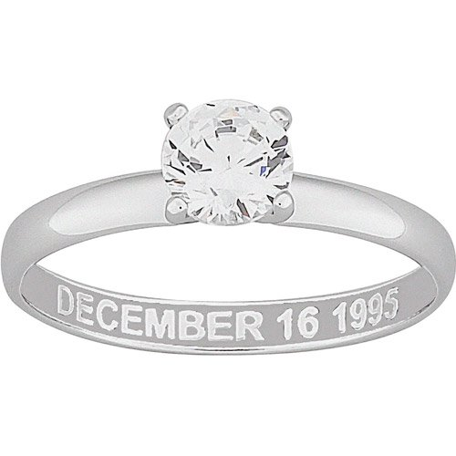 Personalized CZ Solitaire Sterling Silver Engraved Engagement Ring