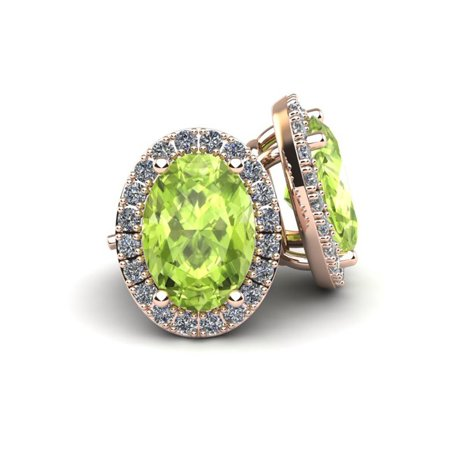 1 Carat Oval Shape Peridot and Halo Diamond Stud Earrings In 14 Karat Rose Gold