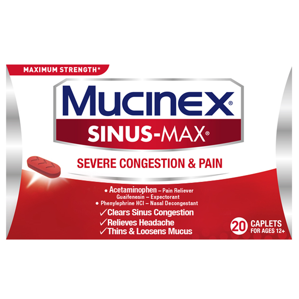 Mucinex Sinus-Max Severe Congestion Relief Caplets, 20 count, Triple Action Relief