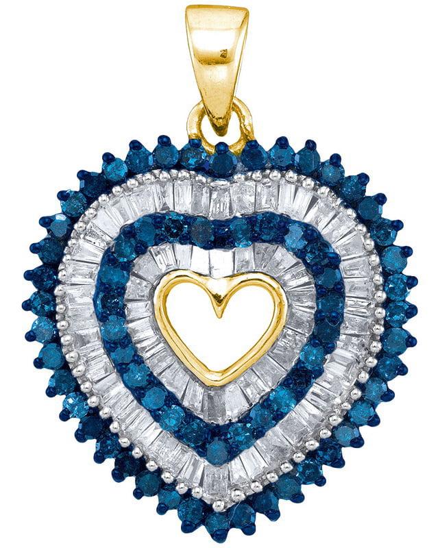 10K Yellow Gold 0.90ctw Glamorous Blue Diamond Micro Pave Layered Heart Pendant by Jewelrypot