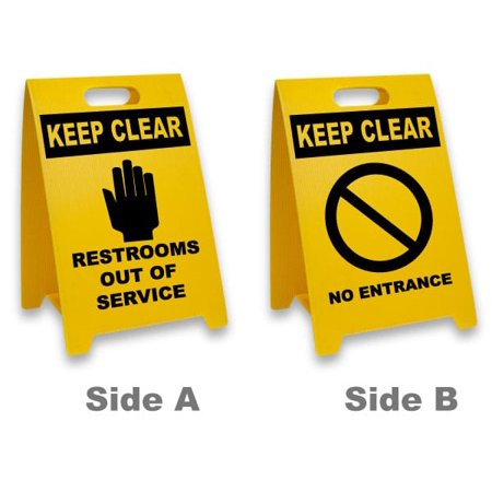 Traffic Signs - Restrooms Out Service / No Entrance Floor Sign 10 x 7 Aluminum Sign Street Weather Approved Sign 0.04 - Restroom Floor