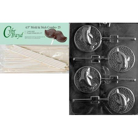 Cybrtrayd 45St25-N035 Dolphin Lolly Nautical Chocolate Candy Mold with 25-Pack 4.5-Inch Lollipop Sticks