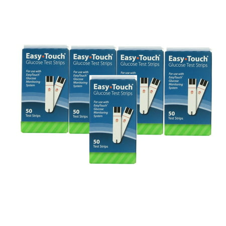 Easy Touch Test Strips 5 Boxes of 50 (250 Count)