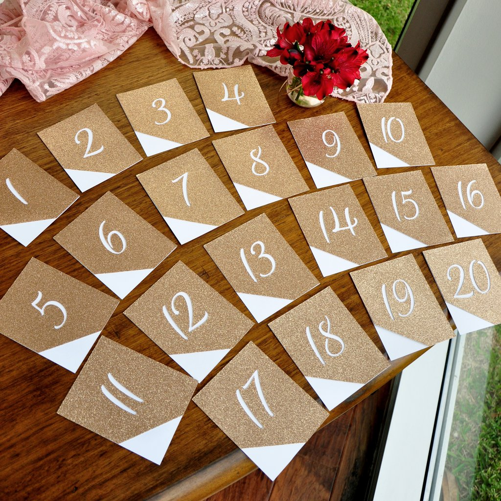 Table Numbers 1-20. Champagne Table Numbers. Glitter Table Numbers for Wedding 1-20.