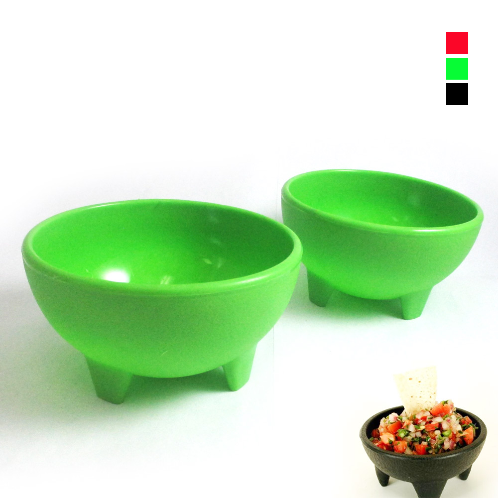 2 Pack Salsa Bowls Plastic Mexican Molcajete Chips Guacamole Bowls Serving Dish