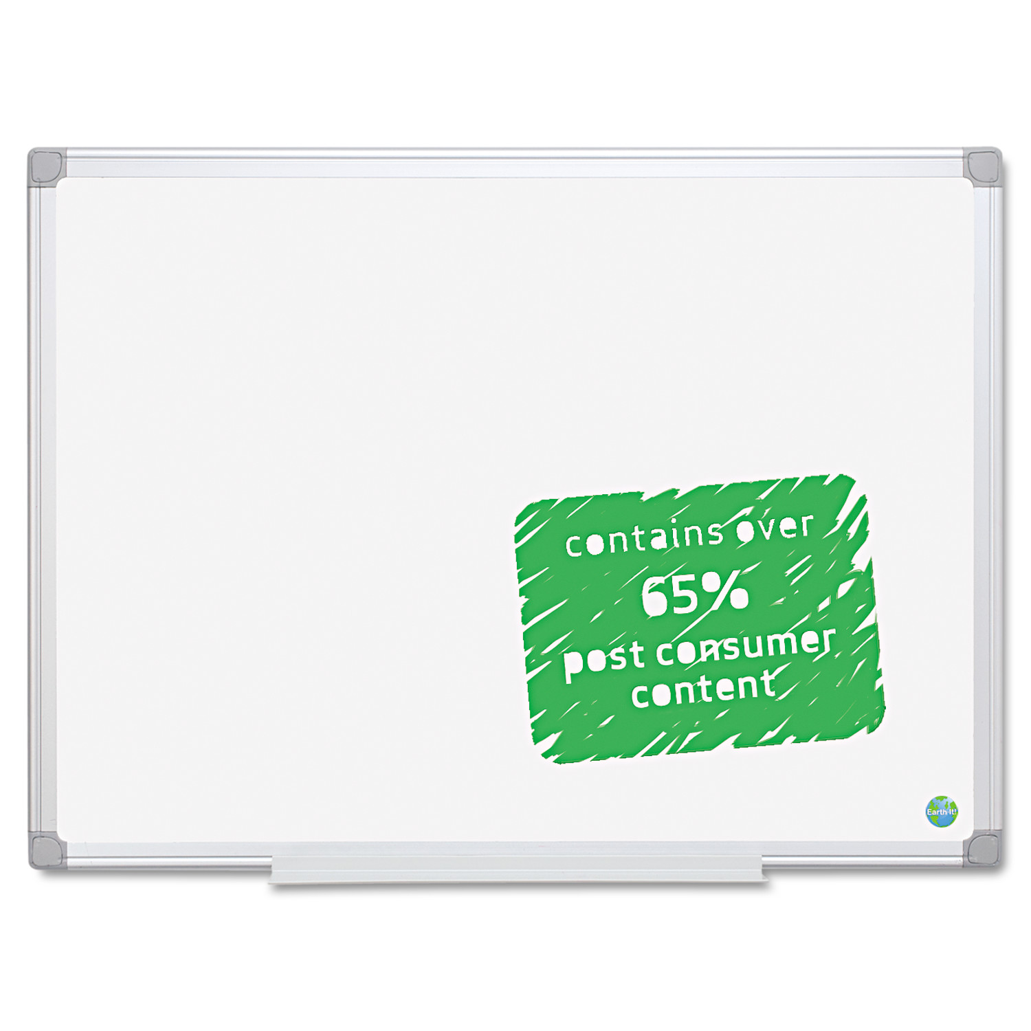 MasterVision Earth Easy-Clean Dry Erase Board, 48 x 72, Aluminum Frame