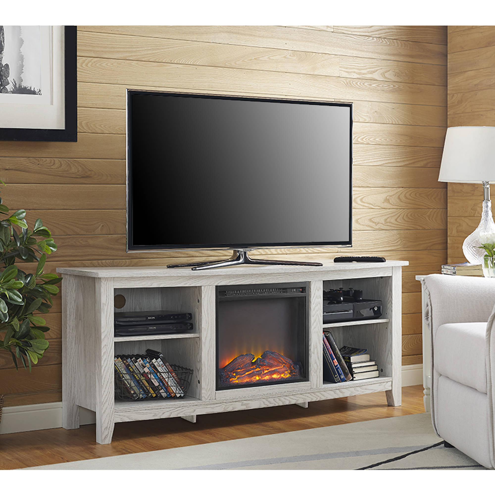 Whitewash Wood Fireplace TV Stand for TVs up to 60