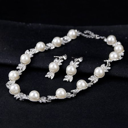 Women Elegant Bridal Jewelry Sets Rhinestone Pearl Necklace + Earrings + Bracelet for Wedding Valentine's Day Gift - image 5 of 7