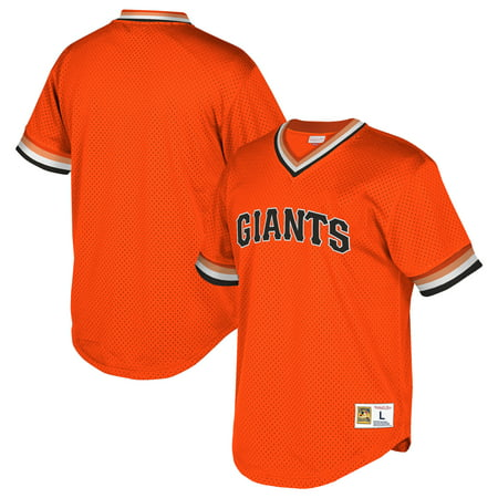 San Francisco Giants Mitchell & Ness Cooperstown Collection Mesh Wordmark V-Neck Jersey - Orange ()