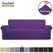 Auchen Stretch Sofa Cover Couch Cover Furniture Protector Sofa Slipcover, 1-Piece Feature High Spandex Textured Small Checks Jacquard Fabric with Elastic Bottom(Sofa,Purple)
