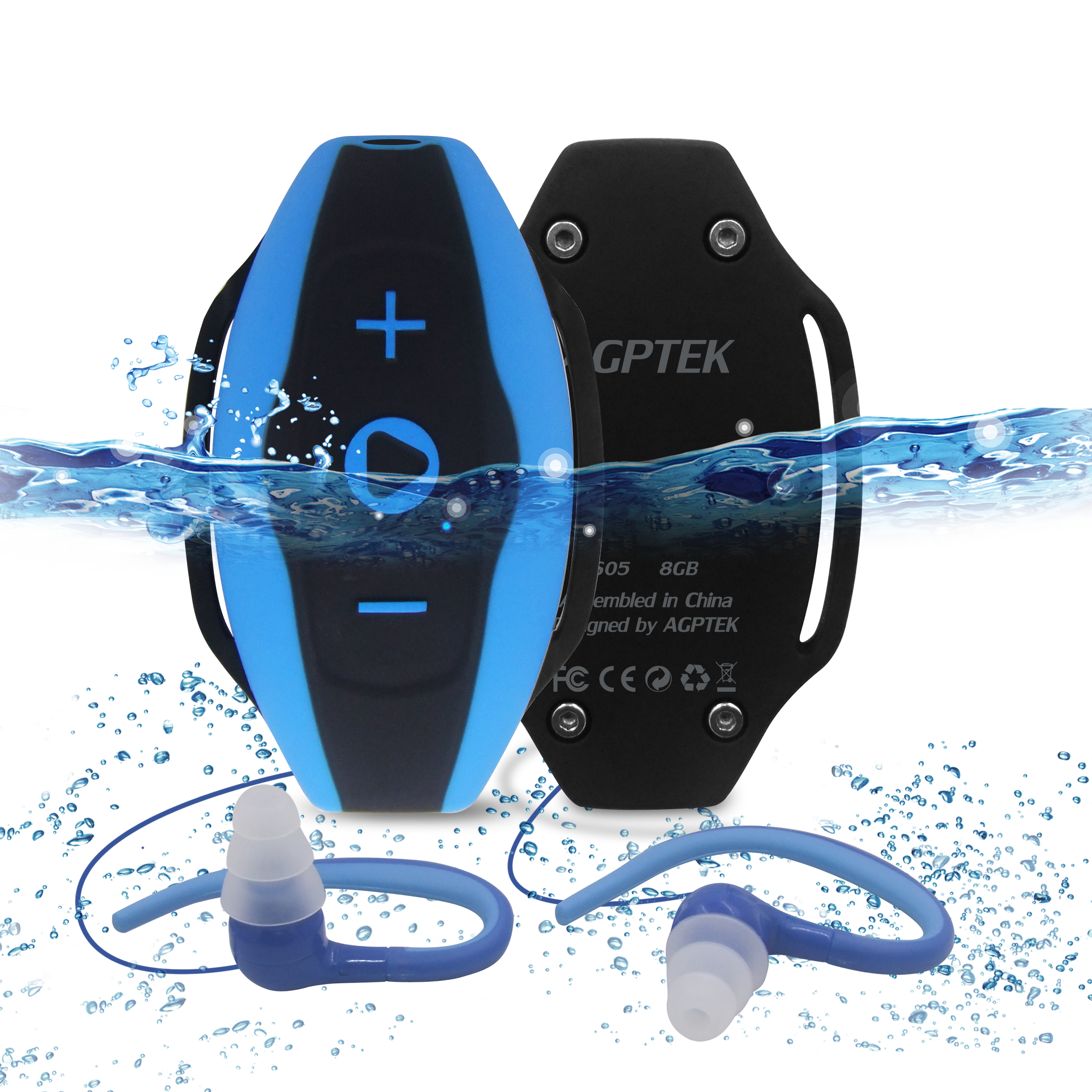 AGPTEK  8GB IPX8 Waterproof MP3 Player with Water Resistant Headphones,suit for Swimming Surfing Running,S05 Blue