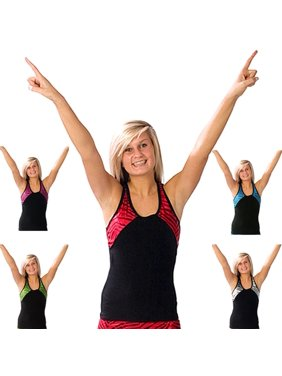 Pizzazz Black Tri Color Zebra Glitter Cheer Dance Top Girls 2-16