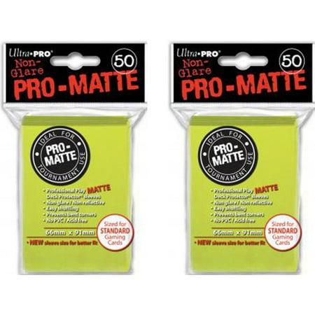 Mtg Deck Protectors (100 Bright Yellow PRO-MATTE Deck Protectors Sleeves Standard MTG Colors, Quantity: 100 By Ultra Pro)