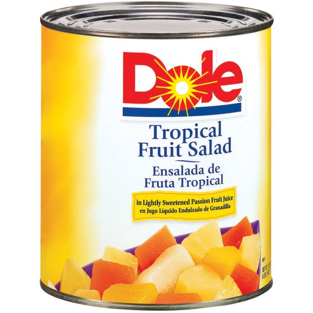 Dole Tropical Fruit Salad in Light Syrup and Passion Fruit Juice, All Natural Fruit, 106oz