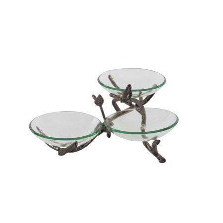 Decmode Eclectic 9 X 22 Inch Frosted Green Glass Triple Bowl With Silver Metal Twig Holders And Stand, Green