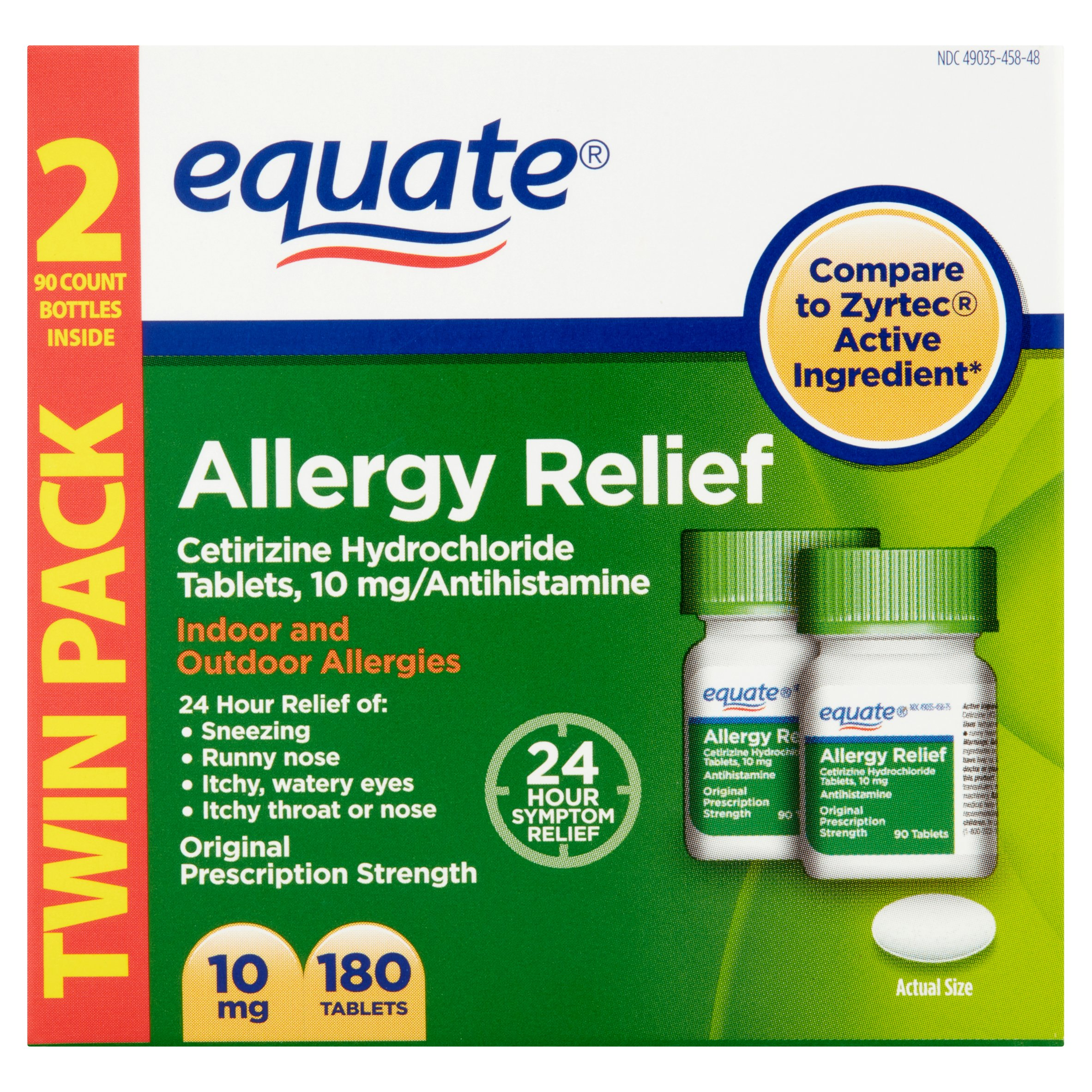 equate cetirizine 10 mg, 180 ct - walmart, Skeleton