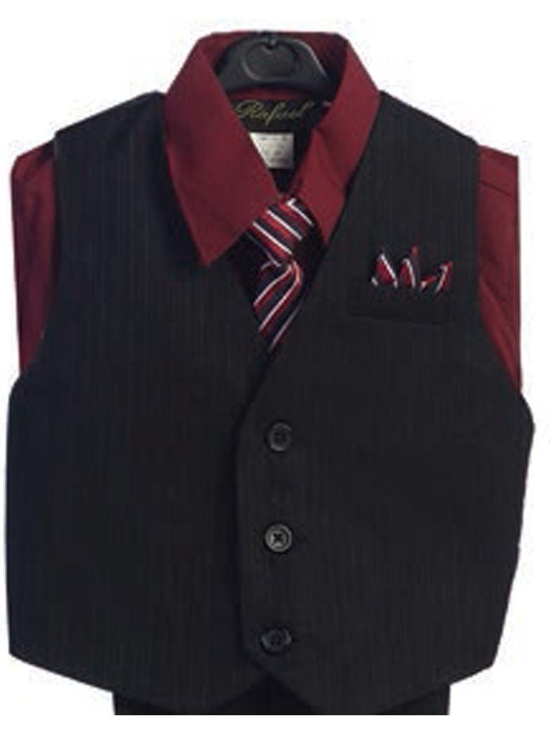 Angels Garment Burgundy 4 Piece Pin Striped Vest Set Boys Suit 3T