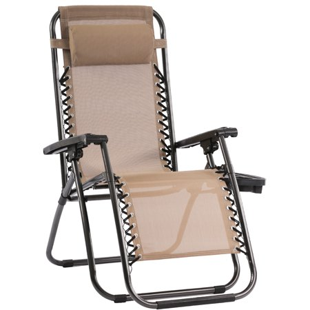 Zero Gravity Chair Patio Chairs Lounge Chaise  Recliners Folding for Outdoor Yard Bench Pool Side with Pillow and Cup Holder ()