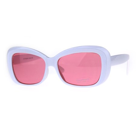 Womens Rectangular Mod Thick Plastic 20s Style Retro Sunglasses White Pink](20s Style Clothing)