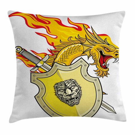 Dragon Throw Pillow Cushion Cover, Legendary Creature with Royal Shield Sword Hero Knight Medieval Print, Decorative Square Accent Pillow Case, 18 X 18 Inches, Marigold Pistachio Green, by Ambesonne