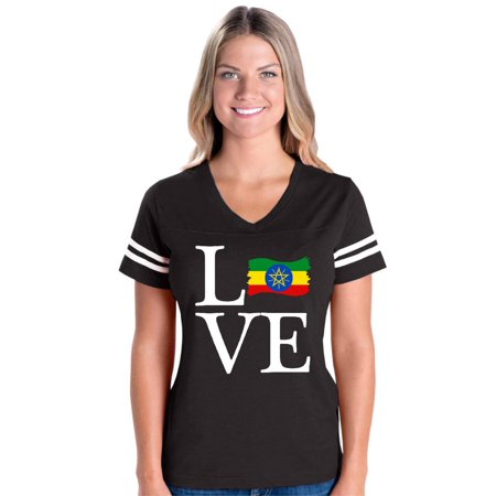 Love Ethiopia Flag Women's Football V-Neck Fine Jersey Tee (Ethiopia Football)
