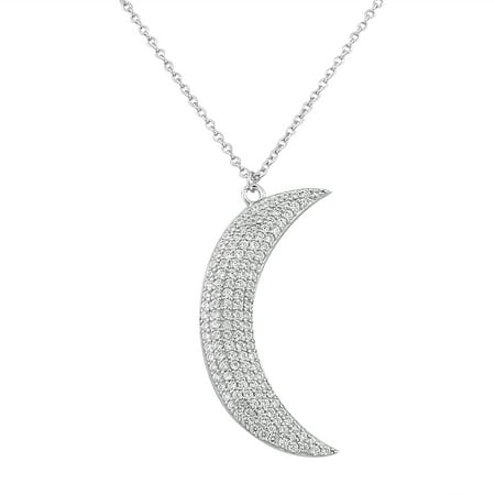 925 sterling silver white cz womens large statement crescent half 925 sterling silver white cz womens large statement crescent half moon pendant necklace aloadofball Images