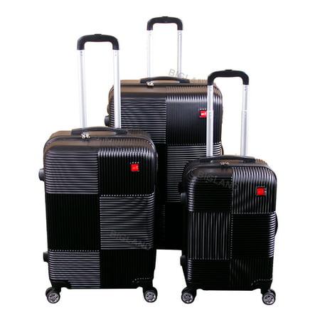 Travel Bag With Wheels (BIGLAND 3 Pcs ABS Luggage Set Hard Suitcase Spinner Set Travel Bag Trolley Wheels Coded Lock )