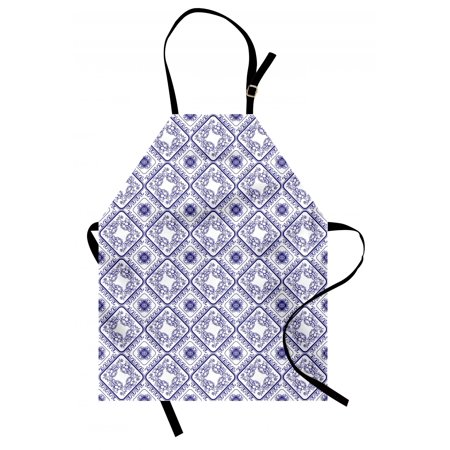 Floral Apron Arts and Craft Theme Flower Pattern on Porcelain Inspired Texture Graphic Print, Unisex Kitchen Bib Apron with Adjustable Neck for Cooking Baking Gardening, White and Blue, by Ambesonne