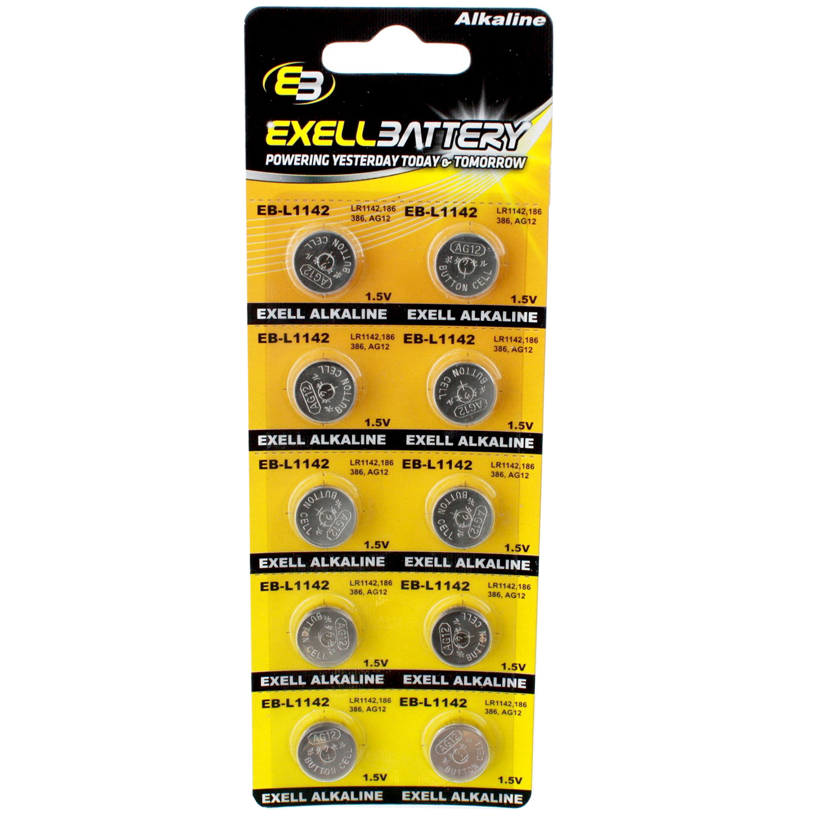 10pk Exell EB-L1142 Alkaline 1.5V Watch Battery Replaces AG12 386 LR43