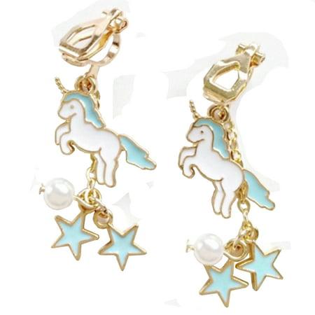 Unicorn Clip On Earrings Drop Dangle Blue White Pearl Star Unicorn Jewelry-57-BC