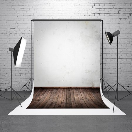 HelloDecor Polyester Fabric 5X7ft Backdrop Photography Background Solid Light Gray Color Wall Backdrop
