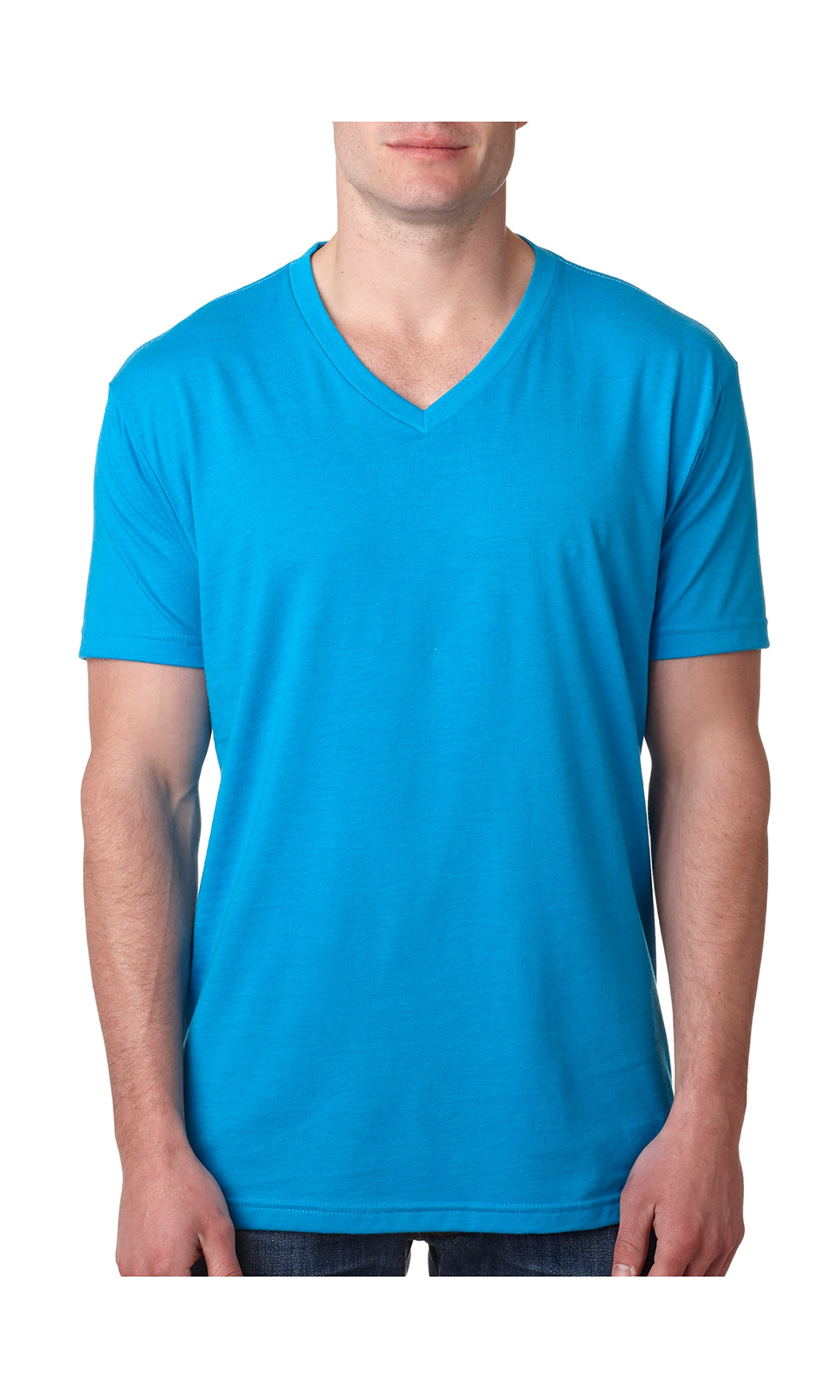 L Next Level Mens 60/% Cotton Apple Green 40/% Polyester CVC V-Neck Tee