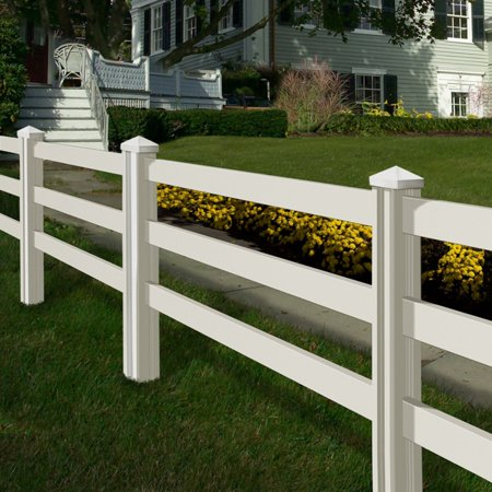 - Wam Bam Premium Ranch Rail Vinyl Fence Panels with Posts and Caps - 4 ft.
