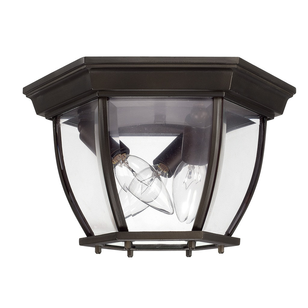 Capital Lighting 9802OB Three Light Outdoor Flush Mount, Old Bronze Finish with Clear Glass