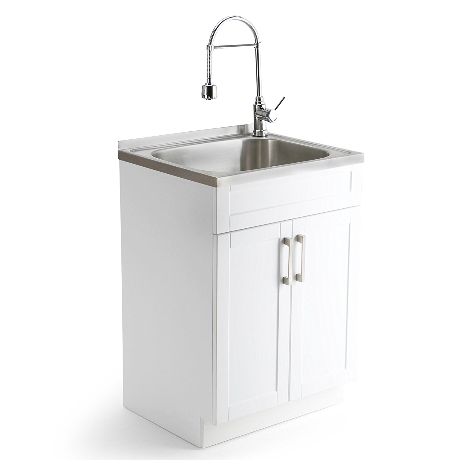 Simpli Home Hennessy Laundry Cabinet with Faucet and Stai...