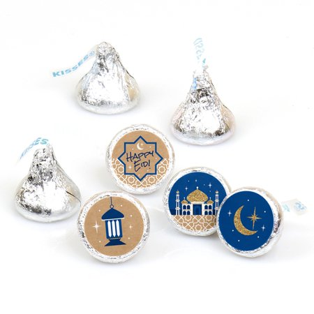 Ramadan - Eid Mubarak Round Candy Sticker Favors - Labels Fit Hershey's Kisses (1 Sheet of 108)