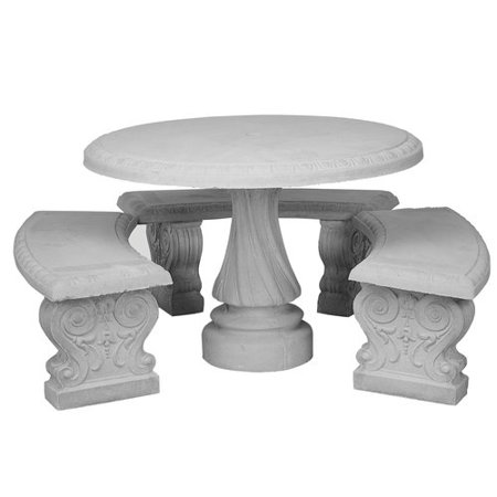 Amazing Round Table With 3 Benches Natural Concrete Walmart Com Gmtry Best Dining Table And Chair Ideas Images Gmtryco
