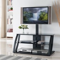 Home Source Logan industrial Plasma TV Stand with Mount and 3 Black Glass Shelves, Black Frame