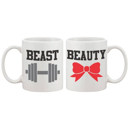365 Printing Inc 2 Piece Beauty and Beast Couple Matching 11 oz. Mug - Beauty And The Beast Teapot Set