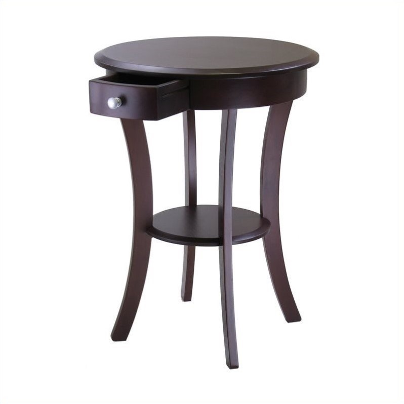 Pemberly Row Round Accent End Table in Cappuccino Finish - image 2 de 2