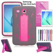 """Samsung Galaxy Tablet E 8.0"""" Case, EpicGadget(TM) Tab E 8 inch T377/T375 Heavy Duty Hybrid Case Full Protection Cover with Kickstand For Tab E 8.0 Display + 1 Screen Protector +1 Stylus (Gray/Pink)"""