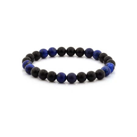 Onyx and Lapis Lazuli Stone Beaded Stretch Bracelet (8mm)