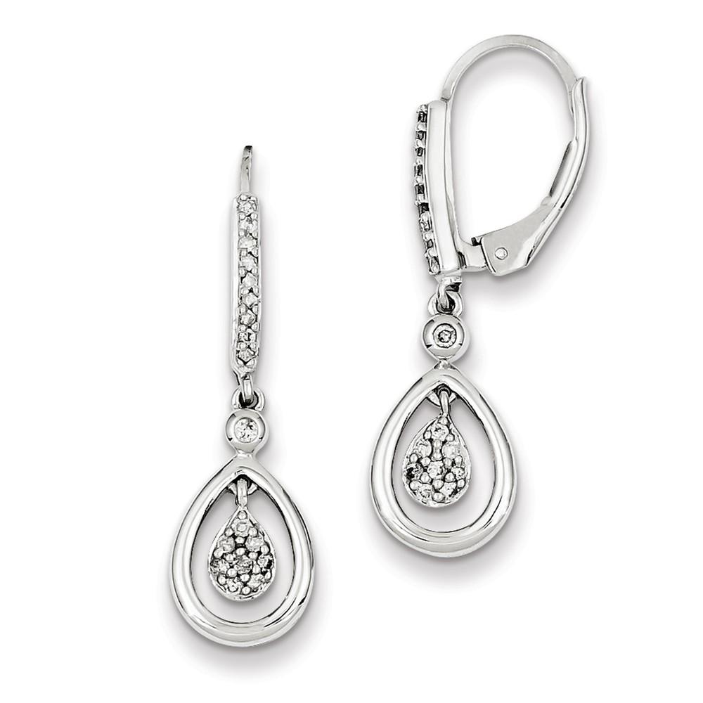Sterling Silver Dangle Cluster Diamond Leverback Earrings. Carat Wt- 0.25ct (0.6IN x 0.3IN )